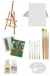 Glance Ayaklı Şövale Seti - Derwent Academy Tüplü 24'lü Akrilik Boya - 50x70 Tuval - Thumbnail