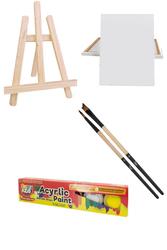 Glance Mini Akrilik Boya Seti - Funny Kids Akrilik Boya 15ml 25x35 Tuval - Rich Düz Fırça - Thumbnail